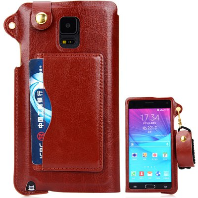 PU Leather Material Lanyard Back Cover Case with Card Holder and Stand for Samsung Galaxy Note4 N9100