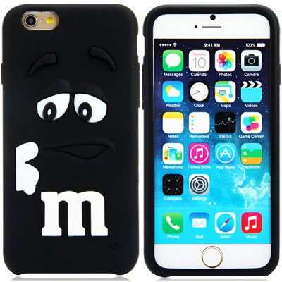Fashionable 3D Cartoon M Chocolate Bean Silicone Back Cover Case for iPhone 6 Plus  -  5.5 inches
