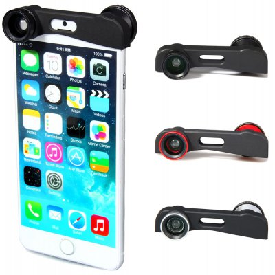 Fashionable 3 in 1 Fisheye Macro and Wide Angle Camera Lens for iPhone 6 Plus  -  5.5 inches