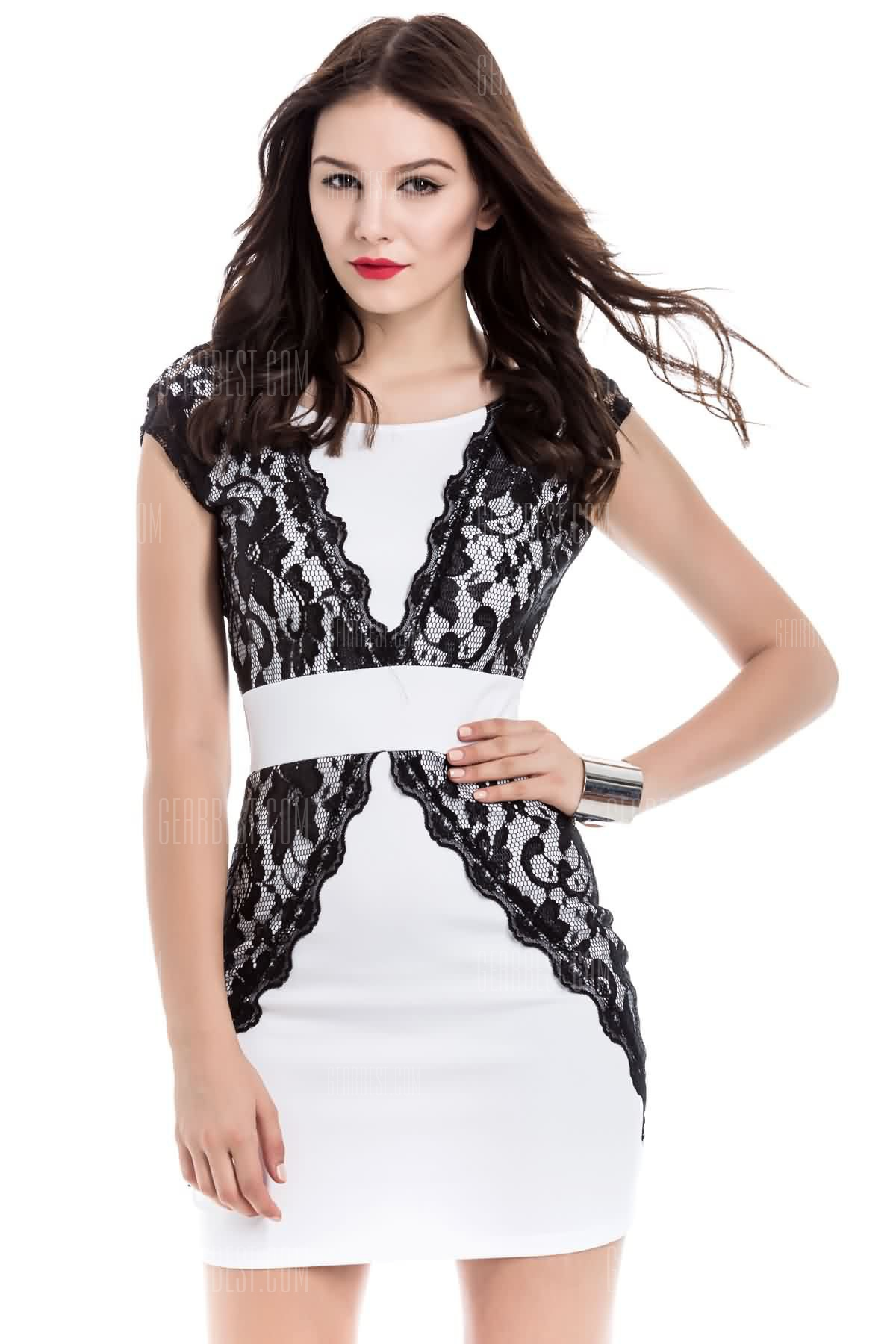 Charming Jewel Neck Lace Splicing Short Sleeve Backless Dress For Women