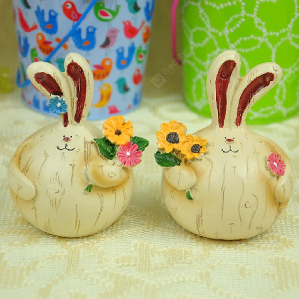 Set of 2 Lovely Village Style Fat Resin Couple Rabbit Pick - flowers for Garden Home Yard Ornaments