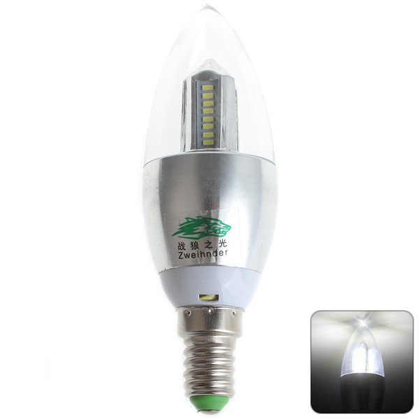 Zweihnder E14 4W 32 x SMD - 3014 LEDs Light 5500 - 6000K 380Lm Candle Bulb