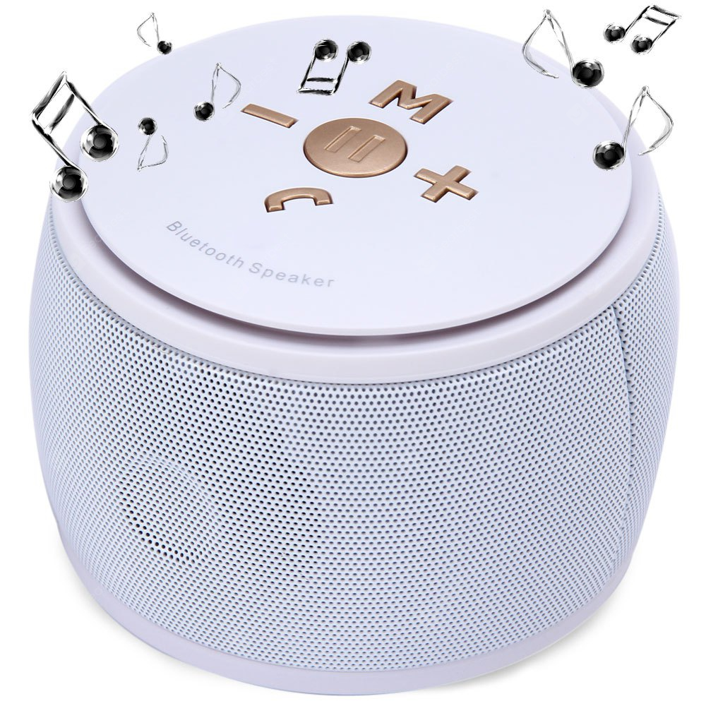 F08 MIC Wireless Bluetooth 3.0 Speaker Built - Lithium Battery Support TF Card AUX External Audio Input WHITE