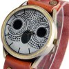 Ladies Night Owl Quartz Watch Leather Strap Round Dial deal