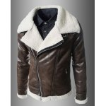 Buy Modern Style Fur Collar Slimming Inclined Zipper Fly Solid Color Long Sleeves Men's PU Leather Coat L