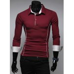 Buy Simple Style Color Block Turn-down Collar Slimming Long Sleeves Men's Polo T-Shirt XL WINE RED