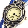 E048 Vintage Style Female Watch Wing Pendant Weave Wrap around Leather Watchband Round Dial for sale
