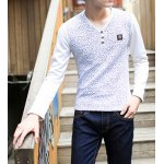 Buy Trendy V-Neck Metal Embellished Slimming Tiny Floral Print Long Sleeves Men's Thicken T-Shirt XL WHITE