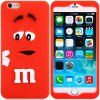 best Fashionable 3D Cartoon M Chocolate Bean Silicone Back Cover Case for iPhone 6  -  4.7 inches