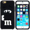 best Fashionable 3D Cartoon M Chocolate Bean Silicone Back Cover Case for iPhone 6 Plus  -  5.5 inches