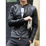 Buy Slimming Stand Collar Floral Print Zipper Design Cuffs Long Sleeves Men's PU Leather Coat M BLACK