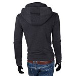 Buy Laconic Solid Color Hooded Personality Zipper Fly Slimming Long Sleeves Men's Hoodie 2XL DEEP GRAY