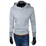 Buy Laconic Solid Color Hooded Personality Zipper Fly Slimming Long Sleeves Men's Hoodie XL