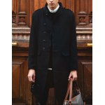 Buy Stylish Stand Collar Slimming Solid Color Faux Fur Splicing Long Sleeve Woolen Blend Trench Coat Men