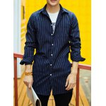 Buy Stylish Shirt Collar Slimming Vertical Striped Letter Print Long Sleeve Cotton Blend Men XL