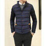 Buy Fashionable Stand Collar Slimming PU Leather Embellished Checked Print Long Sleeves Men's Coat