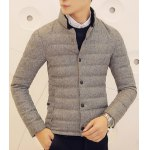 Buy Laconic Slimming Solid Color Stand Collar PU Leather Embellished Long Sleeves Men's Coat