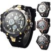 Buy Hpolw 619 Dual Movt LED Watch Week Alarm Date Stopwatch 3ATM Water Resistant BLACK