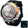 Buy Hpolw 601 LED Watch Japan Movt Double Time Alarm Week Date 3ATM Water Resistant ORANGE