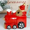 Ceramic Santa Clause with Locomotive Decoration Colors Changing LED Light for Christmas Gifts for sale