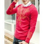 Buy Modern Style Round Neck Slimming Ethnic Abstract Embroidery Long Sleeves Men's Sweater XL
