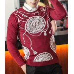 Buy Fashionable Slimming Round Neck Abstract Sunflower Print Long Sleeves Men's Sweater XL