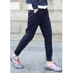 Buy Thicken Slimming Trendy Solid Color PU Leather Design Narrow Feet Cotton Blend Pants Men M BLUE