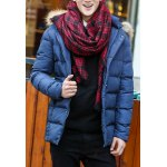 Buy Stylish Hooded Slimming Solid Color Zipper Design Long Sleeve Thicken Cotton Blend Coat Men M