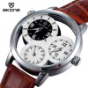 Skone 9274 Male Multi - movt Quartz Watch Hollow - out Round Dial Leather Strap