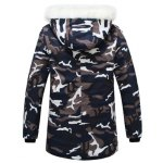 cheap Stylish Hooded Slimming Camo Print Button Design Long Sleeve Thicken Cotton Blend Coat For Men