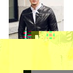 Buy Stylish Stand Collar Slimming Solid Color Zipper Design Long Sleeve PU Leather Coat Men M BLACK