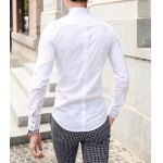 Buy Stylish Stand Collar Slimming Solid Color Button Design Long Sleeve Cotton Blend Shirt Men M WHITE