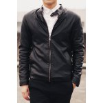 Buy Stylish Stand Collar Slimming Zipper Design Cuffs Long Sleeves Men's PU Leather Thicken Coat XL BLACK