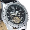 CJIABA DF306 Automatic Mechanical Men Watch Hollow - out Round Dial Wristwatch Calendar Leather Band Round Dial deal