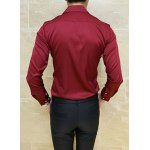 Buy Stylish Turn-down Collar Slimming Solid Color Metal Embellished Long Sleeves Men's Shirt 3XL