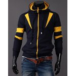Buy Slimming Color Splicing Hooded Double Zipper Faux Twinset Design Long Sleeves Men's Hoodie XL YELLOW