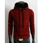 Buy Trendy Hooded Fawn Embroidery Slimming Color Splicing Purfle Long Sleeves Men's Thicken Hoodie M WINE RED