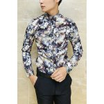 Buy Colormix Stylish Shirt Collar Slimming Colorful Flowers Print Long Sleeve Thicken Cotton Blend Men-27.30 Online Shopping GearBest.com
