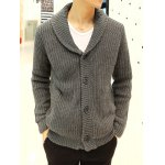 Buy Light gray Fashionable Turn-down Collar Solid Color Loose-Fitting Long Sleeves Men's Thicken Cardigan-48.23 Online Shopping GearBest.com