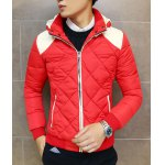 Buy Slimming Hooded Color Splicing Zipper Embellished Long Sleeves Men's Thicken Coat 3XL RED