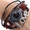 Yulan Quartz Watch Love Word Round Dial Leather Band Wristwatch for Ladies