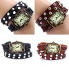 Yulan Quartz Watch Rectangle Dial Leather Strap for Ladies