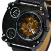 Male Quartz Mechanical Watch Multi - movt Leather Band Round Dial deal
