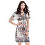 Bohemian Plunging Neck Short Sleeve Printed Women's Dress deal