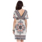 Bohemian Plunging Neck Short Sleeve Printed Women's Dress for sale
