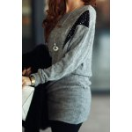 cheap Stylish Scoop Neck Sequins Embellished Batwing Sleeve Women's Dress