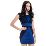 Charming Jewel Neck Lace Splicing Short Sleeve Backless Dress For Women deal