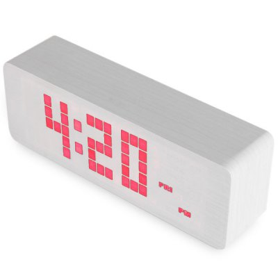 Novelty Red Light LED Wooden Electronic Alarm Clock with Sound Control Calendar Thermometer Function