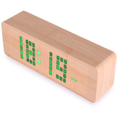 Green Light LED Wooden Electronic Alarm Clock