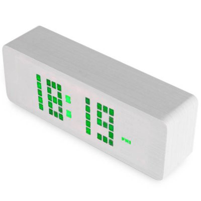Novelty Green Light LED Wooden Electronic Alarm Clock with Sound Control Calendar Thermometer Function